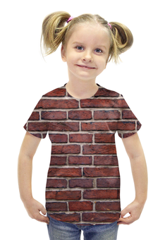 """Футболка с полной запечаткой для девочек """"Кирпичная кладка"""" - арт, дизайн, стена, камень, кирпич"""