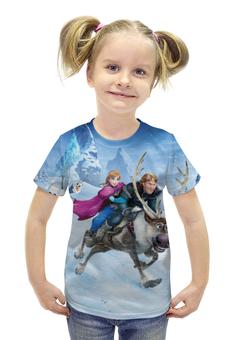 """Футболка с полной запечаткой для девочек """"Frozen"""" - мультфильм, принцесса, холодное сердце"""
