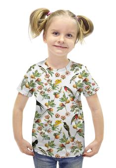 """Футболка с полной запечаткой для девочек """"Лесная фауна"""" - цветы, фрукты, птицы, лес, природа"""