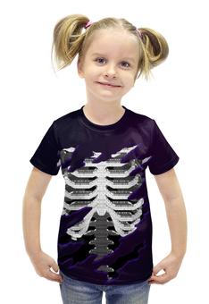 """Футболка с полной запечаткой для девочек """"Скелет """" - ребра, позвонки"""