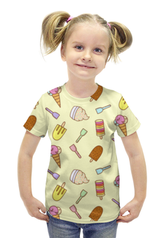 """Футболка с полной запечаткой для девочек """"Мороженки"""" - лето, еда, сладости, мороженное, рожок"""