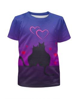 """Футболка с полной запечаткой для девочек """"Cat's desire. Парные футболки."""" - любовь, кошки, парные, ко дню влюбленных"""
