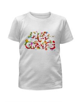 """Футболка с полной запечаткой для девочек """"Christmas"""" - праздник, новый год, рождество, снежинки, christmas"""