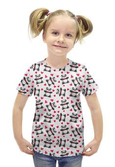 """Футболка с полной запечаткой для девочек """"Мишки Панда"""" - сердца, панда, подарок, мишки"""