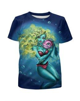 """Футболка с полной запечаткой для девочек """"LagoonaBlue"""" - море, рыба, монстер хай, русалка, лагуна блю"""