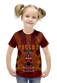 """Футболка с полной запечаткой для девочек """"Кремль"""" - ссср, россия, герб россии, russia, двуглавый орёл"""