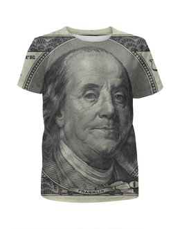 """Футболка с полной запечаткой для девочек """"Mr Dollar"""" - usa, america, dollar"""