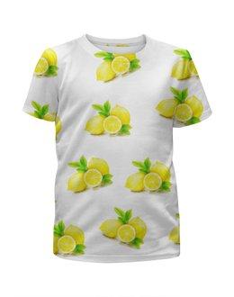 """Футболка с полной запечаткой для девочек """"Лимоны"""" - еда, фрукты, цитрус, витамины, лимоны"""