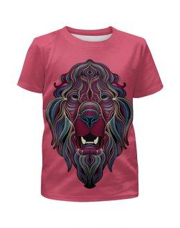 """Футболка с полной запечаткой для девочек """"Звери, арт дизайн"""" - арт, лев, lion, звери, арт дизайн"""