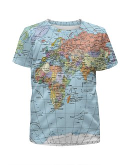 """Футболка с полной запечаткой для девочек """"Карта мира"""" - мир, страны, карта, политика, география"""