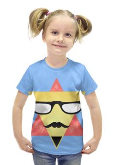 """Футболка с полной запечаткой для девочек """" Triangular Face"""" - цветы, рисунок, очки, усы, треугольники"""