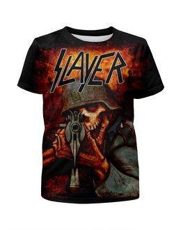 """Футболка с полной запечаткой для девочек """"Slayer Band"""" - рок музыка, рок группа, slayer, thrash metal, трэш метал"""