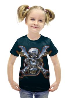 """Футболка с полной запечаткой для девочек """"Metal Skull"""" - череп, heavy metal, байкер, хардкор, biker skull"""