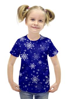 """Футболка с полной запечаткой для девочек """"НОВЫЙ ГОД!!!"""" - красиво, новый год, зима, веселье, снежинки"""