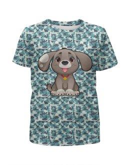 """Футболка с полной запечаткой для девочек """"Милая собачка"""" - животные, щенок, собака, пёс, современный камуфляж"""