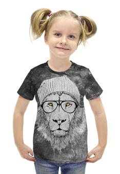 """Футболка с полной запечаткой для девочек """"Lion Geek"""" - лев, lion"""