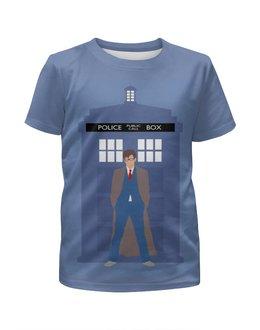 """Футболка с полной запечаткой для девочек """"Доктор Кто и ТАРДИС / Doctor Who & TARDIS"""" - doctor who, доктор кто, тардис, дэвид теннант, полицейская будка"""