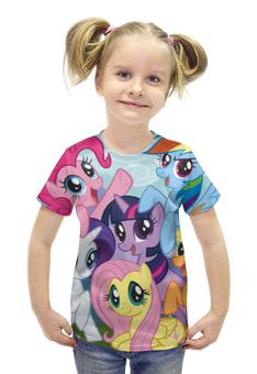 "Футболка с полной запечаткой для девочек ""My Little Pony"" - rainbow dash, my little pony, applejack, friendship is magic, twilight sparkle"