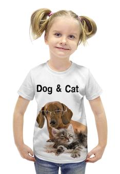 """Футболка с полной запечаткой для девочек """"Пес и кот"""" - животные, кошки, для детей, собаки, детские майки"""
