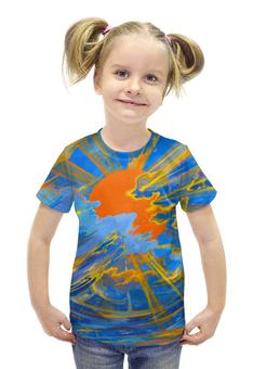 """Футболка с полной запечаткой для девочек """"Солнце"""" - солнце, небо, облака, голубое, оранжевое"""