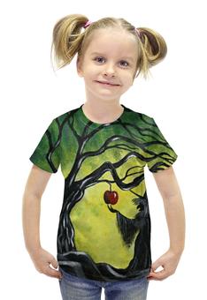"""Футболка с полной запечаткой для девочек """"Заколдованное яблоко"""" - сказка, волшебство, колдунья, майка для девочки, отравленное яблоко"""