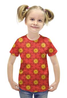"""Футболка с полной запечаткой для девочек """"Солнечный узор"""" - арт, цветы, узор, стиль, рисунок"""