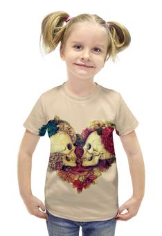"""Футболка с полной запечаткой для девочек """"Skull Art"""" - skull, сердце, heart, цветы, черепа"""