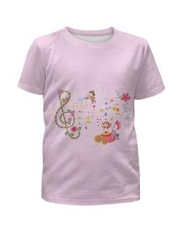 """Футболка с полной запечаткой для девочек """"Музыка"""" - музыка, дети, ноты"""