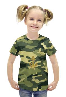"""Футболка с полной запечаткой для девочек """"Военно морской флот """" - якорь, хаки, милитари, вмф"""