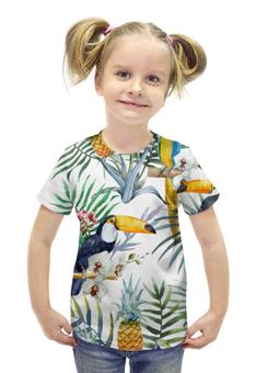 """Футболка с полной запечаткой для девочек """"Пеликан и ананасы"""" - красиво, птица, природа, ананас, пеликан"""