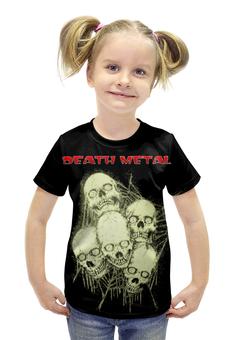 """Футболка с полной запечаткой для девочек """"Death Metal"""" - skull, череп, черепа, death metal, рок музыка"""
