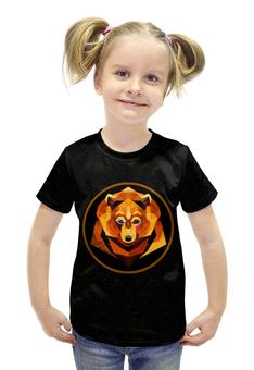"""Футболка с полной запечаткой для девочек """"Bear face"""" - bear, медведь, россия, огненный, bear art"""