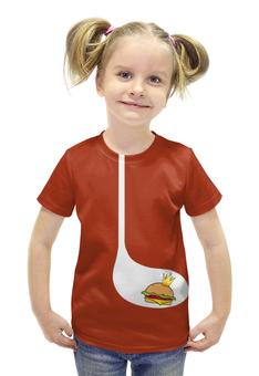 """Футболка с полной запечаткой для девочек """"BURGER"""" - прикол, юмор, еда, бургер"""