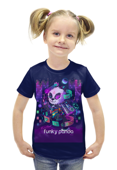 """Футболка с полной запечаткой для девочек """"Funky Panda"""" - музыка, bear, медведь, панда, panda"""