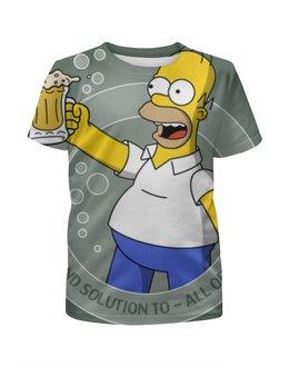 """Футболка с полной запечаткой для девочек """"гомер , симпсоны , The Simpsons , мультики """" - мультики, гомер, симпсоны, the simpsons"""