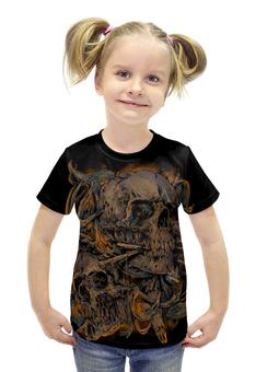 """Футболка с полной запечаткой для девочек """"Skull Art"""" - skull, череп, кости, арт дизайн, череп с рогами"""