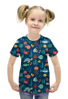 """Футболка с полной запечаткой для девочек """"Рыбки"""" - море, рыбы, акула, черепаха, медуза"""
