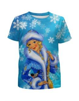 """Футболка с полной запечаткой для девочек """"Снегурочка"""" - праздник, новый год, снегурочка"""