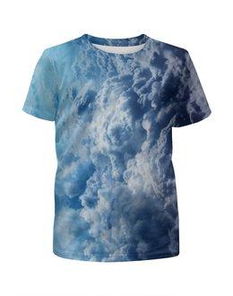 """Футболка с полной запечаткой для девочек """"Облака"""" - sky, облака, clouds"""