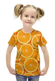 """Футболка с полной запечаткой для девочек """"ORANGE"""" - фрукты, orange, апельсин"""