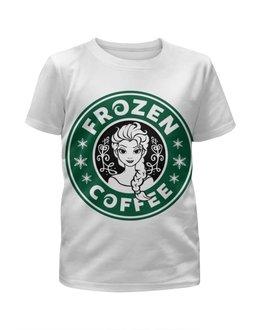 """Футболка с полной запечаткой для девочек """"Снежная Королева"""" - starbucks, старбакс, frozen coffee"""
