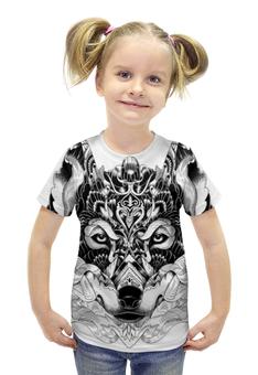 """Футболка с полной запечаткой для девочек """"Волк """" - арт, волк, wolf, чёрное и белое"""