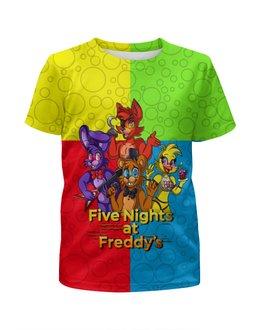 """Футболка с полной запечаткой для девочек """"Five Nights at Freddy's"""" - мультфильмы, игрушки, куклы, пять ночей у фредди, игроманам"""