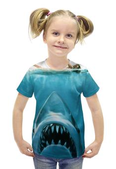 """Футболка с полной запечаткой для девочек """"Челюсти (Акула)"""" - челюсти, акула, shark, jaws"""