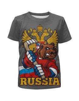 """Футболка с полной запечаткой для девочек """"Russian Bear"""" - bear, медведь, россия, russia, хоккей"""