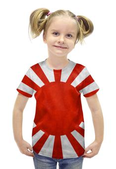 """Футболка с полной запечаткой для девочек """"Японский Флаг"""" - флаг, япония, japan, восходящее солнце"""