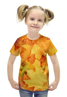 """Футболка с полной запечаткой для девочек """"Листья-осень"""" - необычно, ярко, свежо"""