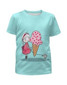 """Футболка с полной запечаткой для девочек """"Девочка с можроженным"""" - бабочки, собака, девочка, мороженое, коса"""