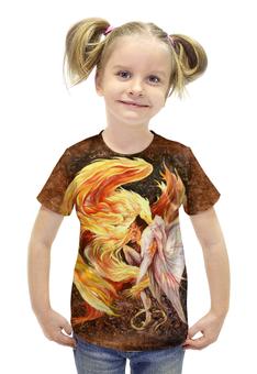 """Футболка с полной запечаткой для девочек """"Танец жизни"""" - авторские майки, дракон, огонь, феникс"""