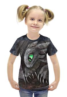 """Футболка с полной запечаткой для девочек """"Беззубик Ночная Фурия"""" - авторские майки, дракон, беззубик, ночная фурия, как приручить дракона"""